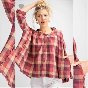 Plaid Button Down Oversize Shirt Top- Faded Rust